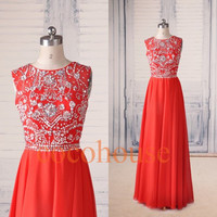 Red Long Prom Dresses with Silver Beads Open Back Evening Dresses New Party Dresses Homecoming Dresses Hot Party Dresses Wedding Party Dress