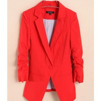 Women Autumn New Style Slim Ruffled 3/4 Sleeve One Button Red Blends Suit S/M/L/XL@WH0069r $21.77 only in eFexcity.com.