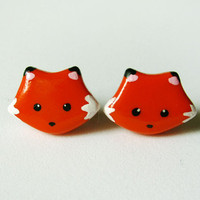 Cute Orange Fox Earrings Polymer Clay Jewelry
