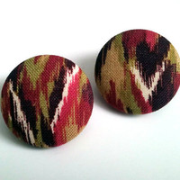 Raspberry and olive green abstract button earrings