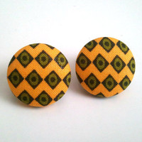 Yellow and olive green diamond african/ retro tribal button earrings
