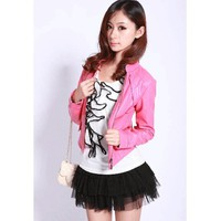 Short Pink Leather Jacket Women Autumn Outfit Women Clothes@XVR921p