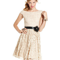 City Triangles Juniors Dress, Cap-Sleeve Lace A-Line - Juniors SALE & CLEARANCE - Macy's