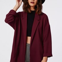 Missguided - Moxie Crepe Duster Coat Burgundy