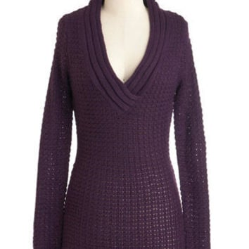 Hold Me Close-Knit Sweater in Aubergine | Mod Retro Vintage Sweaters | ModCloth.com