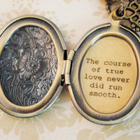 Shakespeare Quote - Women's Locket - The course of true love never did run smooth - Midsummer's Night Dream