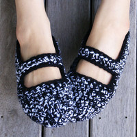 Crochet Mary Jane Slippers In Black.. on Luulla