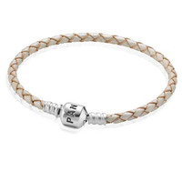 Pandora Champagne Single Braided Leather Bracelet LIMITED QUANTITIES!