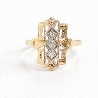 Antique 14K Yellow & White Gold Diamond Filigree Shield Ring - Art Deco 1920s 1930s Size 8 Triple Diamond Embossed Open Metal Fine Jewelry