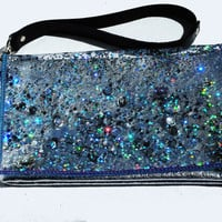 Holographic Bag Sliver Glitter Clutch Bag Silver Leather Wristlet in Galaxy