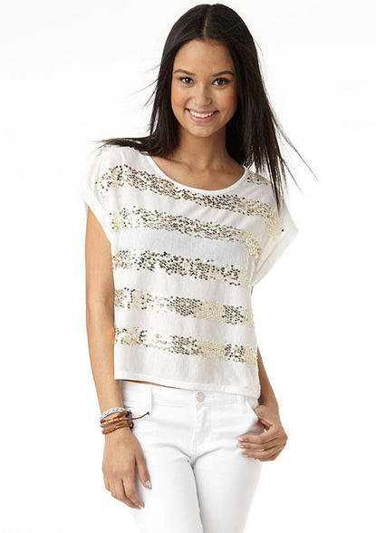 Sequin Stripe Tee