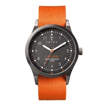 Triwa Walter Lansen Orange Canvas & Leather Band Wrist Watch