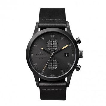 Triwa Steel Sort of Black Chrono Leather Band Wrist Watch