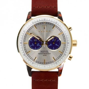 Triwa Blue Face Nevil Leather Band Watch