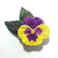 Hand Beaded Pansy Flower Brooch