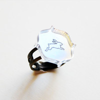 Rabbit Ring - Vintage Mirror Silhouette Ring
