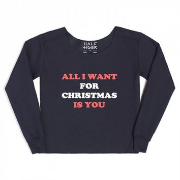 all i want for christmas-Female Navy Hoodie