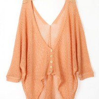 Asymmetric Long Sleeves Orange Cardigan$39.00