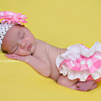 Pink and white checkered ruffle bloomers diaper cover by amwoo254