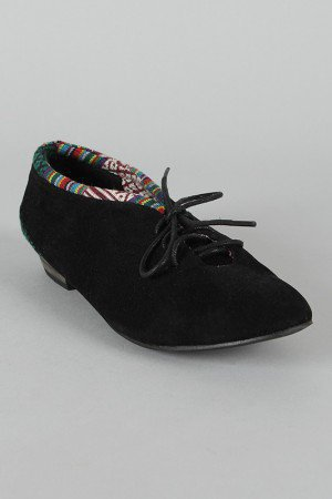 Elaine-3B Tribal Print Lace Up Flat