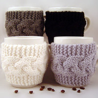 4 Hand Knit Coffee Mug Cozy Your Choice Of Colors