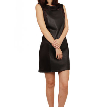 ZARDOZE Leather Panel Dress