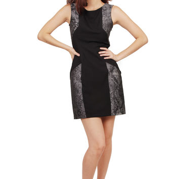 ZARDOZE Contrast Snakeskin Printed Dress