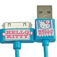 Blue Hello Kitty USB Charger with Rhinestones for iPhone iPad iPod