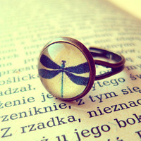 Retro Vintage Dragonfly Ring - Free Shipping - Made to order :)