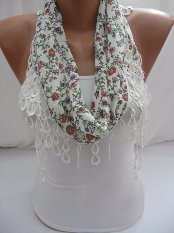 White Cotton Shawl/ Scarf - Headband - Cowl with Lace Edge - Spring Trends