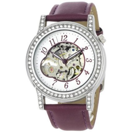 Akribos XXIV Women&#x27;s AKR475PU Bravura Collection Skeleton Automatic Watch - designer shoes, handbags, jewelry, watches, and fashion accessories | endless.com