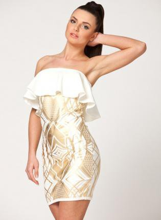 White Strapless Dress with Peplum Top and Gold Print