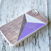 iphone 4 case - triangle color block on printed wood diamond - purple
