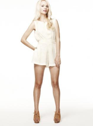 Satin Cream Block Print Romper with Detachable Sash