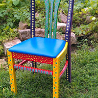 Colorful Hand Painted Crazy Chair Purple Back by LisaFrick on Etsy
