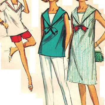 "1960s Junior Maternity Dress, Top, Shorts and Slacks Vintage Sewing Pattern, Sailor Collar, Mad Men, Simplicity 6024 bust 30.5"" uncut"
