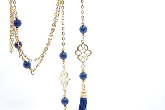 Matte Gold Plated Oriental Infinity Charm Lariat Necklace with Navy blue Lapis Lazuli Stones and Suede Leather Tassel