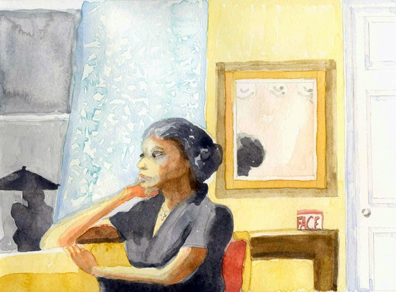 Watercolor Portrait Eleanor Rigby 8x10 Painting