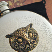 Round Owl Flask Silver &amp; Brass Gothic Victorian Steampunk Vintage Style Reproduction Halloween Flask