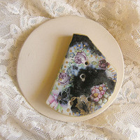 Ceramic Button, Handmade Black Ceramic Button, Roses, Vintage Style OOAK