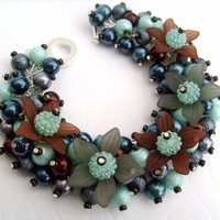 Beaded Charm Bracelet With Flowers and Pearls  Teal by KIMMSMITH