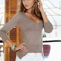Metallic V-neck sweater, shorts from VENUS