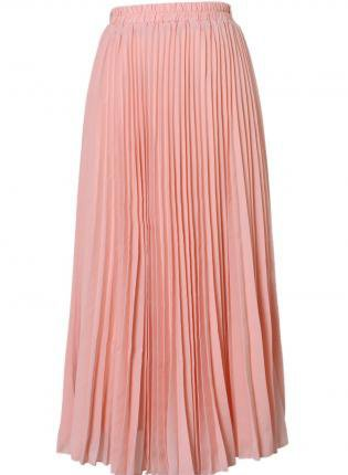 pink pleated high waist maxi skirt from ustrendy bottoms