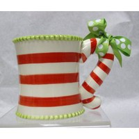 Amazon.com: Mud Pie Whimsical Candy Cane Handle Mug Single 1-Piece: Kitchen & Dining