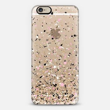 Gold Pink Black and White Party Confetti Explosion iPhone 6 case by Organic Saturation | Casetify