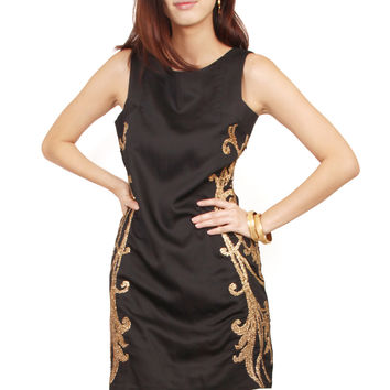 ZARDOZE Gota Embroidered Shift Dress in Black