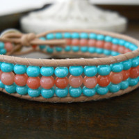 Mint Julep and Coral Beaded Leather Bracelet