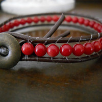 Red Coral Bamboo Beaded Leather Bracelet