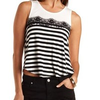 Lace Trim High-Low Tee by Charlotte Russe - Black Combo