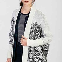 Ecote Geo-Printed Open-Front Cardigan Sweater- Black & White